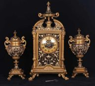 Magnificent bronze and Champleve enamel Clock set. [Second half of the XIX century]. Demension 47,