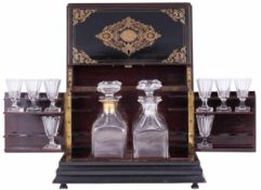 Travel drink set. [XIX century]. France8 snifters, 4 bottles. Dimensions: 31x22,5x26 cm.- - -15.00 %