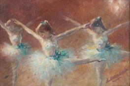 Blume-Siebert, Ludwig. Ballerinas. [Late of the XIX - beginning oh the XX century]. Oil on canvas.