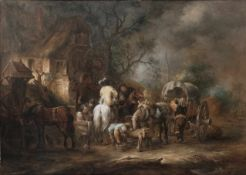 Unknown artist in the manner of Philips Wouwerman. Resting in front of an inn. Copper painting. [XIX
