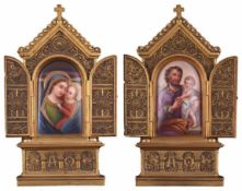Pair of table altars. Porcelain painting. [XIX century].Copper frames. 22x10,5 cm.- - -15.00 %