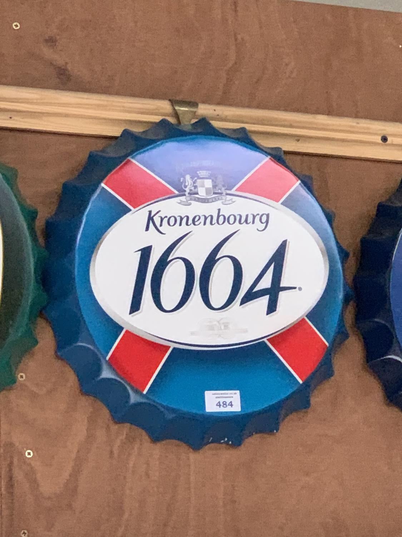 Lot 484 - A COLLECTABLE METAL BEER BOTTLE CAP 'KRONENBOURG 1664' SIGN