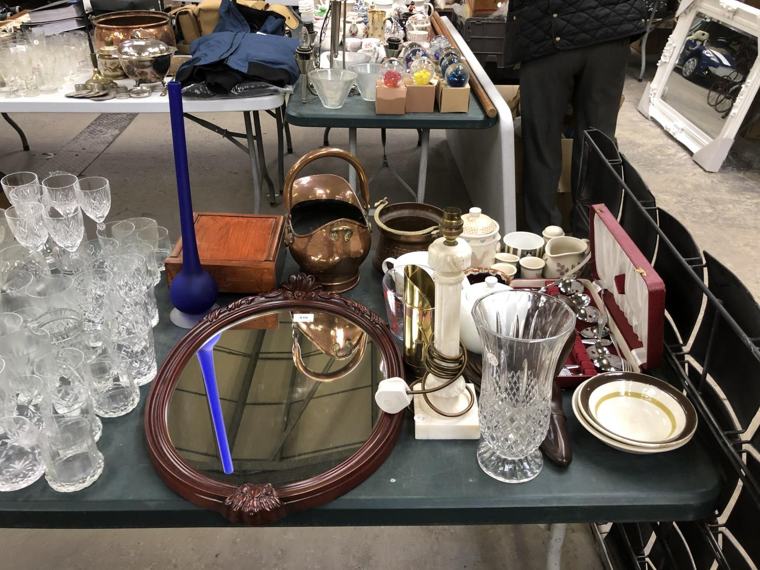 Lot 810 - A MIXED GROUP OF ITEMS - COPPER AND BRASS COAL BUCKET, MIRROR, BOXED SILVER PLATED DESSERT SET ETC