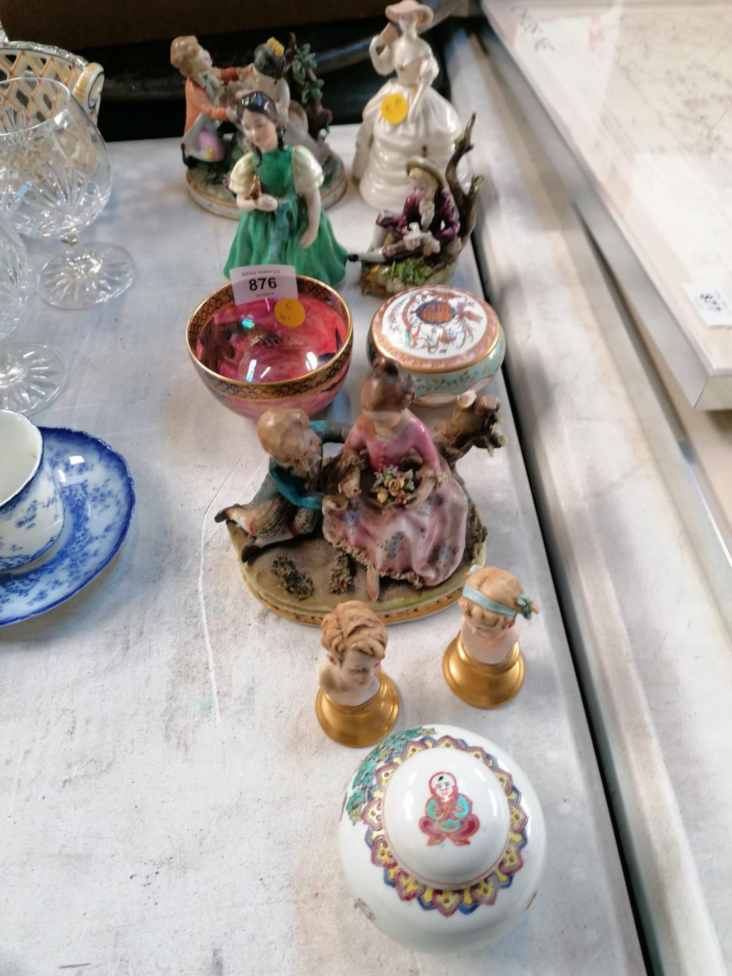 Lot 876 - MIXED ITEMS - ROYAL DOULTON SMALL LADY, MALING LUSTRE BOWL, CAPODIMONTE ETC