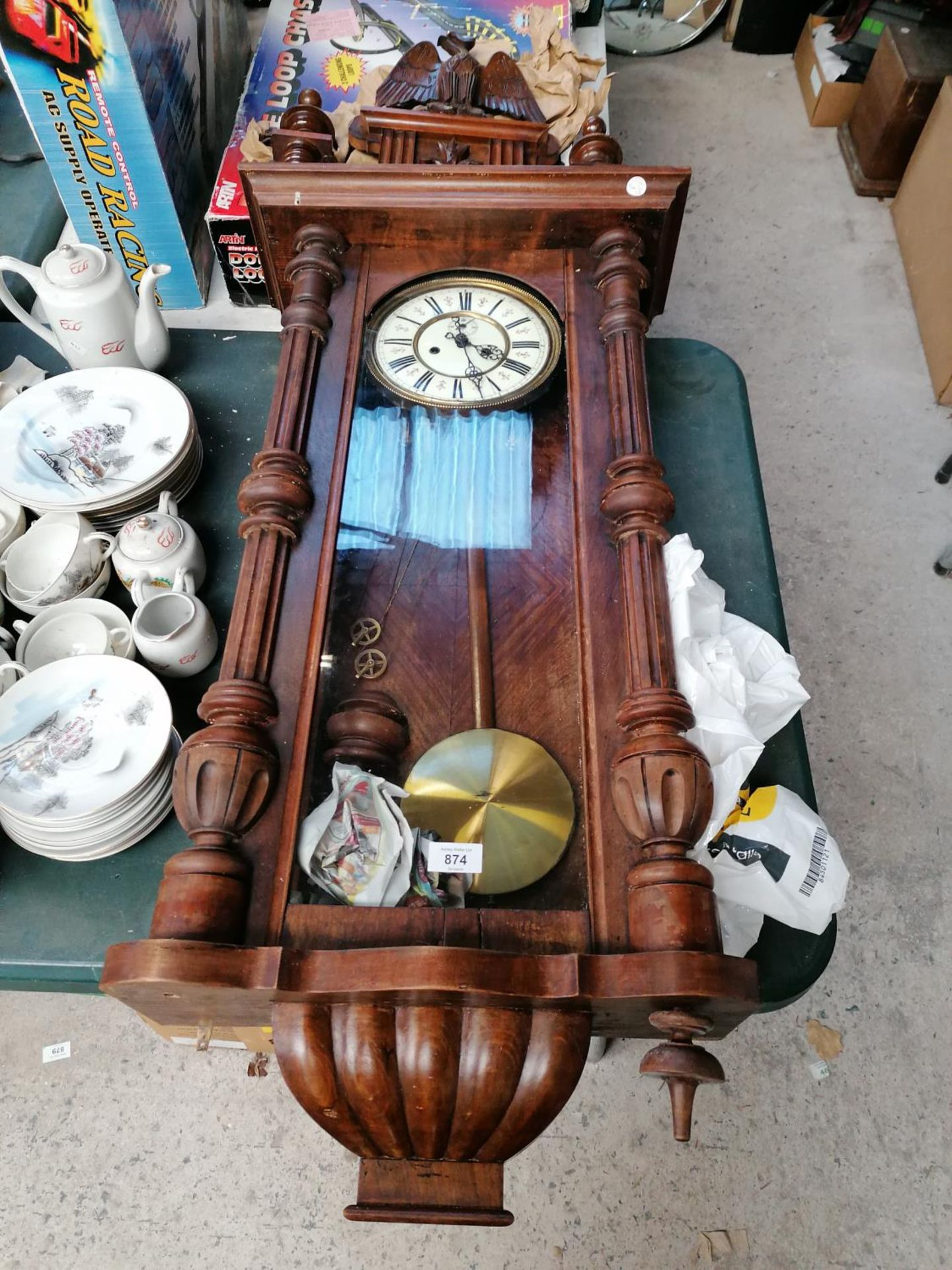 Lot 874 - A LARGE MAHOGANY VIENNA WALL CLOCK WITH PENDULUM AND WEIGHTS