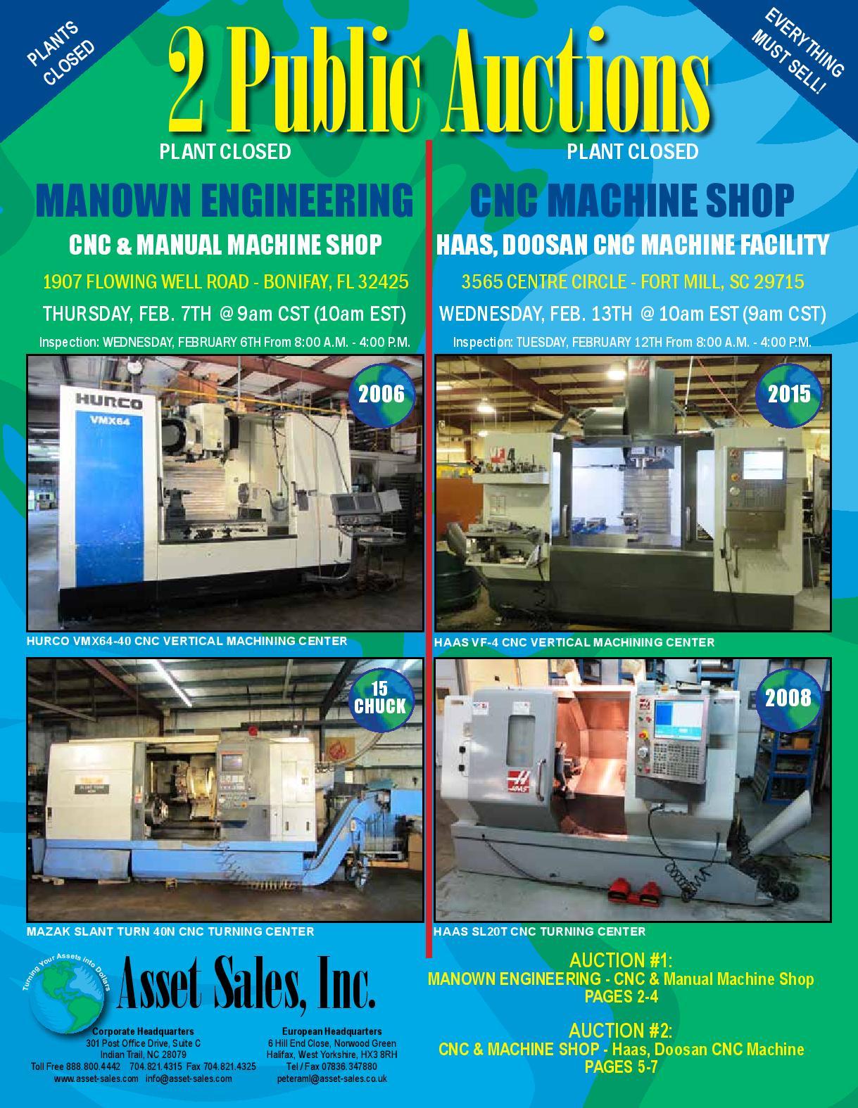 CNC & MACHINE SHOP EQUIPMENT: Haas, Doosan CNC Machine Facility