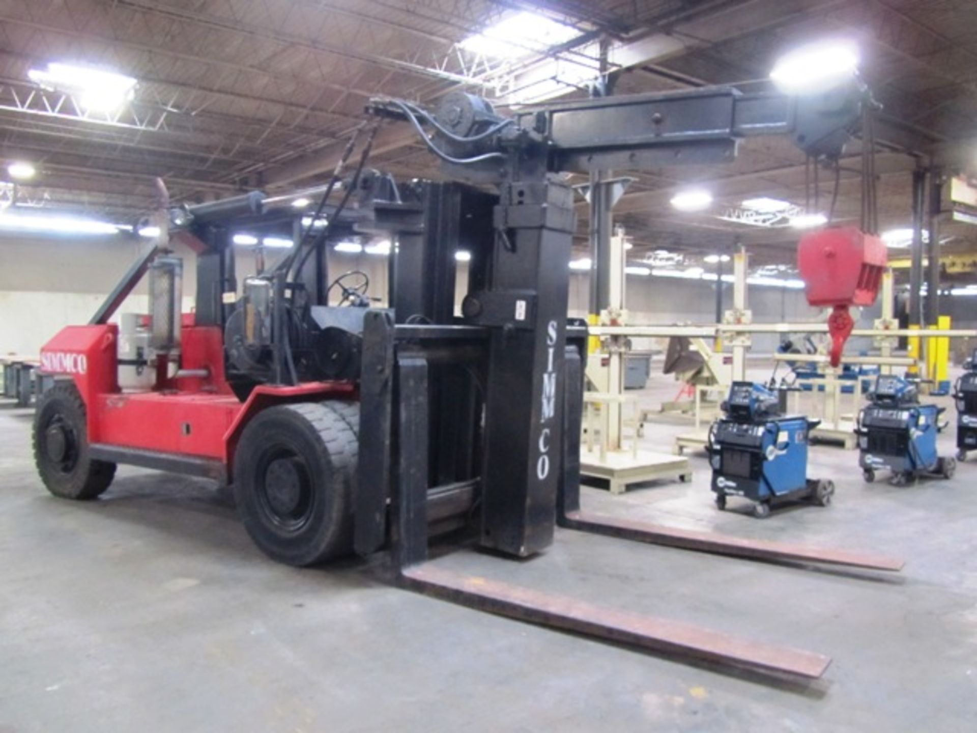 Lot 711C - Taylor Approx 40,000lb Propane / Gas Forklift with Approx 2485.2 Hours, 6' Forks, Rigging Boom