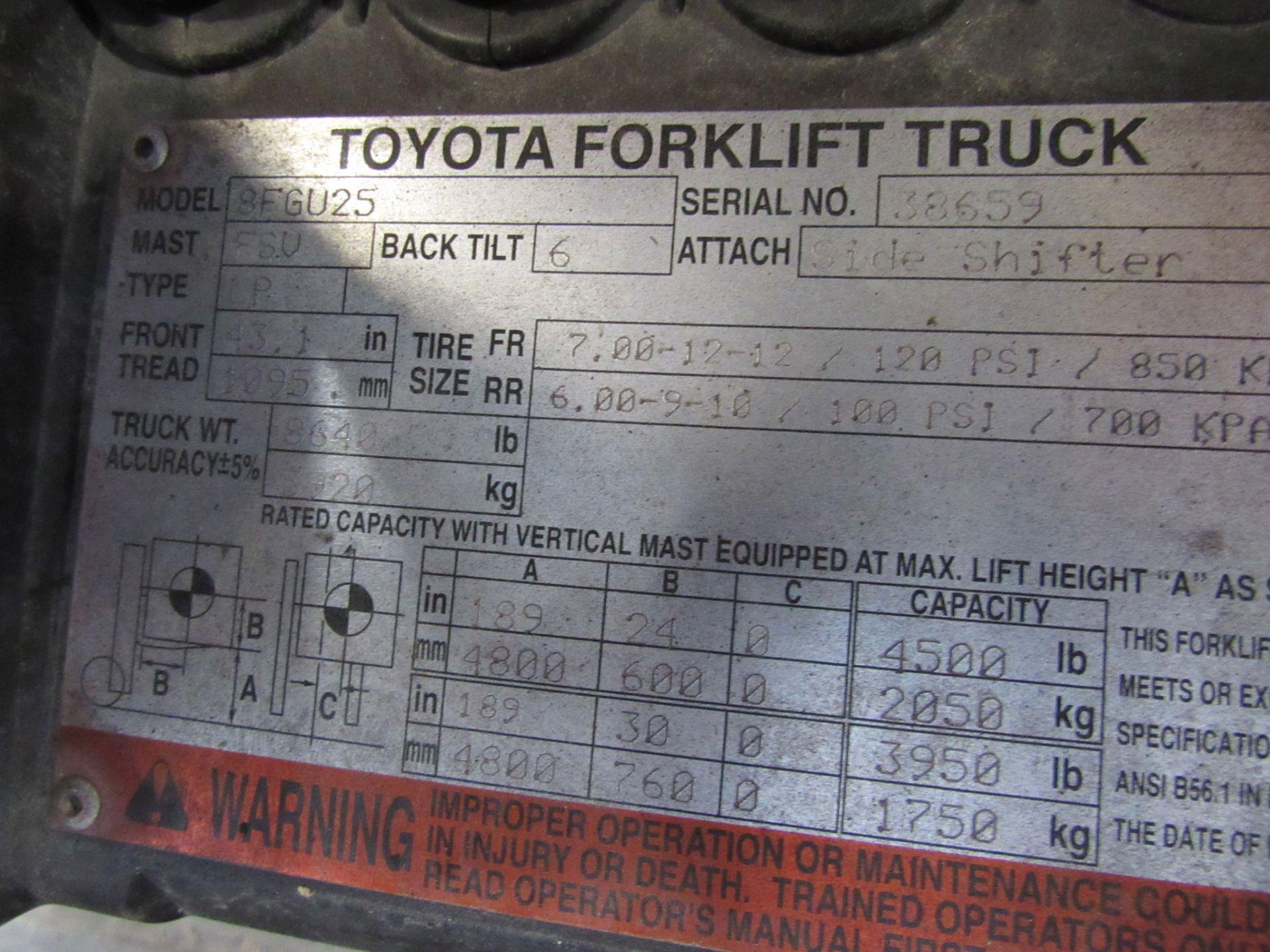 Lot 46 - Toyota Model 8FGU25 5,000lb Capacity Propane Forklift