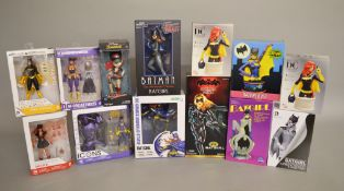 Thirteen DC figures mostly Batgirl, including; Batman black & white Batgirl by DC Collectables,