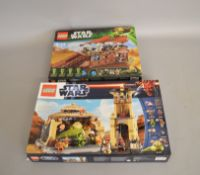Two Lego Star Wars sets 75020 Jabba's Sail Barge and 9516 Jabba's Palace,
