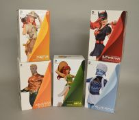 Five DC collectables figures, including; DC Comic Bombshells, Batwoman numbered limited edition,