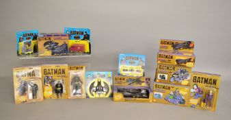 Thirteen Batman figures and vehicles by Toy Biz,