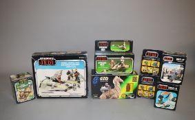 Five boxed Star Wars ROTJ items including 'Rebel Armoured Snowspeeder Vehicle', 'Speeder Bike',
