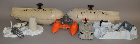 A quantity of unboxed vintage Star Wars related items, including 2 x 'Rebel Transport' vehicles,