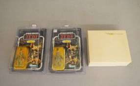 Two Star Wars figures, (last 17) by Kenner Teebo x2 3 3/4 figure on a 79 back card by Kenner,