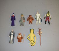 Eight Star Wars last 17 figures which includes; Amanaman (complete), Barada, Anakin Skywalker,