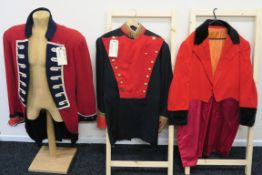 Three long coats one with Western Costume co Hollywood label name C.