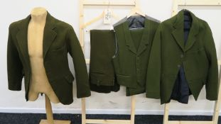 """Jim Dale """"Hot Lead and Cold Feet"""" (1978) movie costume comprising two green jackets, one waistcoat,"""