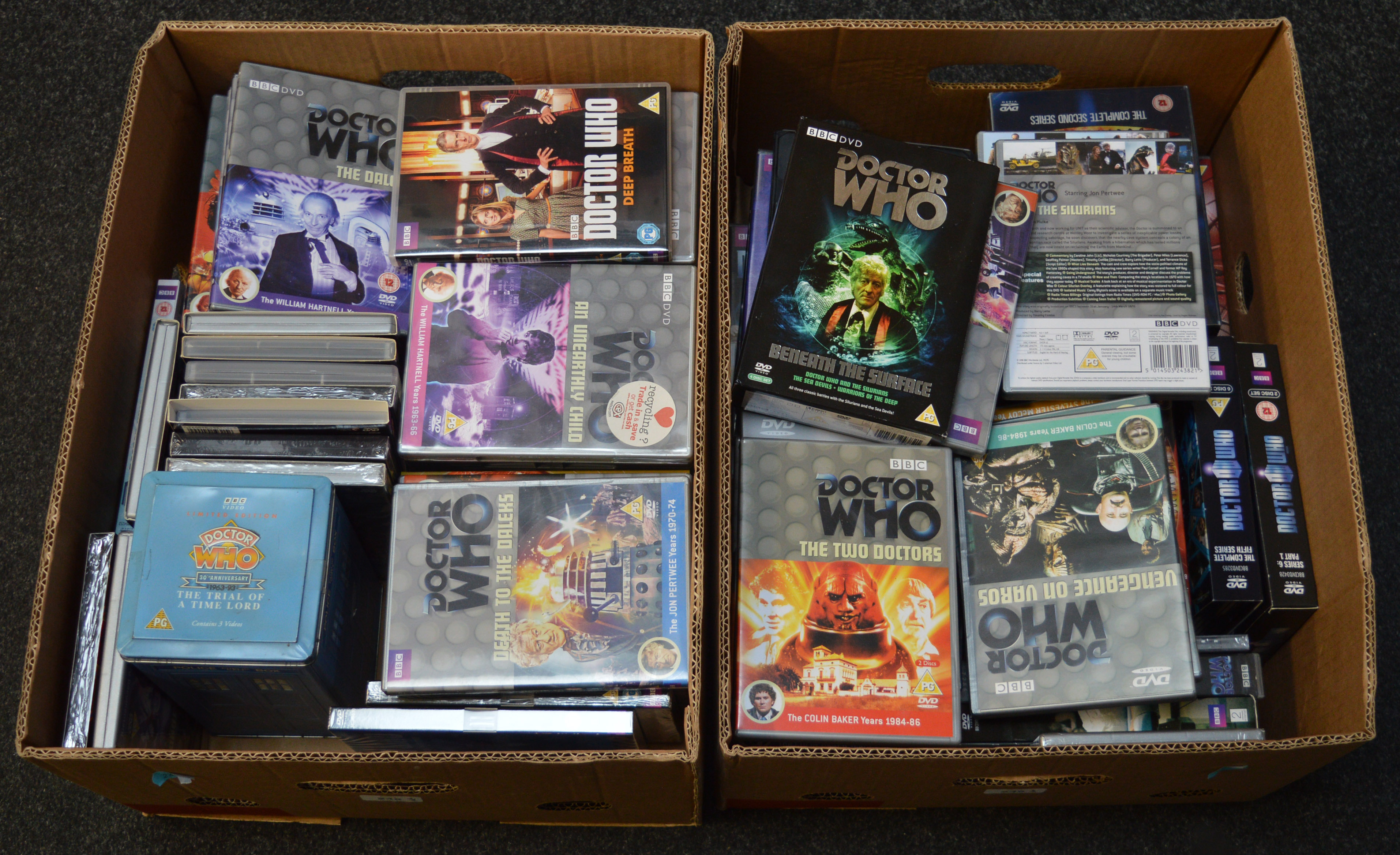 Lot 245 - Two large boxes of Dr Who DVD's.