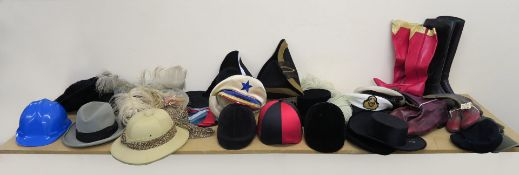 Collection of hats and boots many from the Western Costume Company of Hollywood California