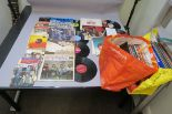 Lot 251 - LP vinyl records in two large bags plus a small quantity of 7 inch singles LPs include John Mayall