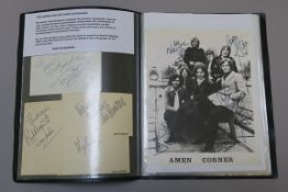 A folder of pop autographs many on photos collected by the reporter for Record Mirror including The