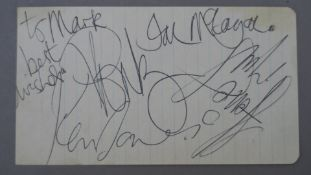 The Small Faces autographs from 1967 featuring the signatures of Steve Marriott,