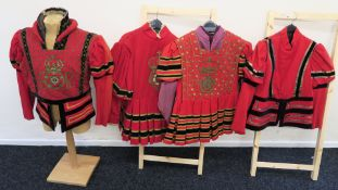 """""""Mary Queen of Scots"""" four costumes with labels """"Jack Davidson"""" chest 43 inch, """"Wingate Smith"""" 9499,"""