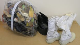 Large collection of mostly ladies shoes as used in movies including high heels size 6 1/2 Caparros,