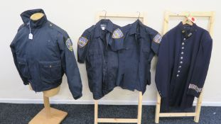 """Four Police costumes comprising one vintage Police coat """"B 11"""","""