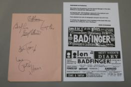 Badfinger autographs obtained from the Glen Ballroom on February 26th 1970.