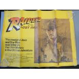 Lot 99A - Raiders of the Lost Ark British Quad film poster stars Harrison Ford as Indiana Jones in folded