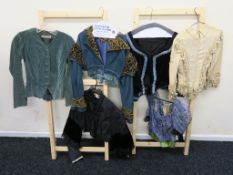 """Six costume tops including Western Costume company green velvet v-neck jacket with name """"Michelle"""