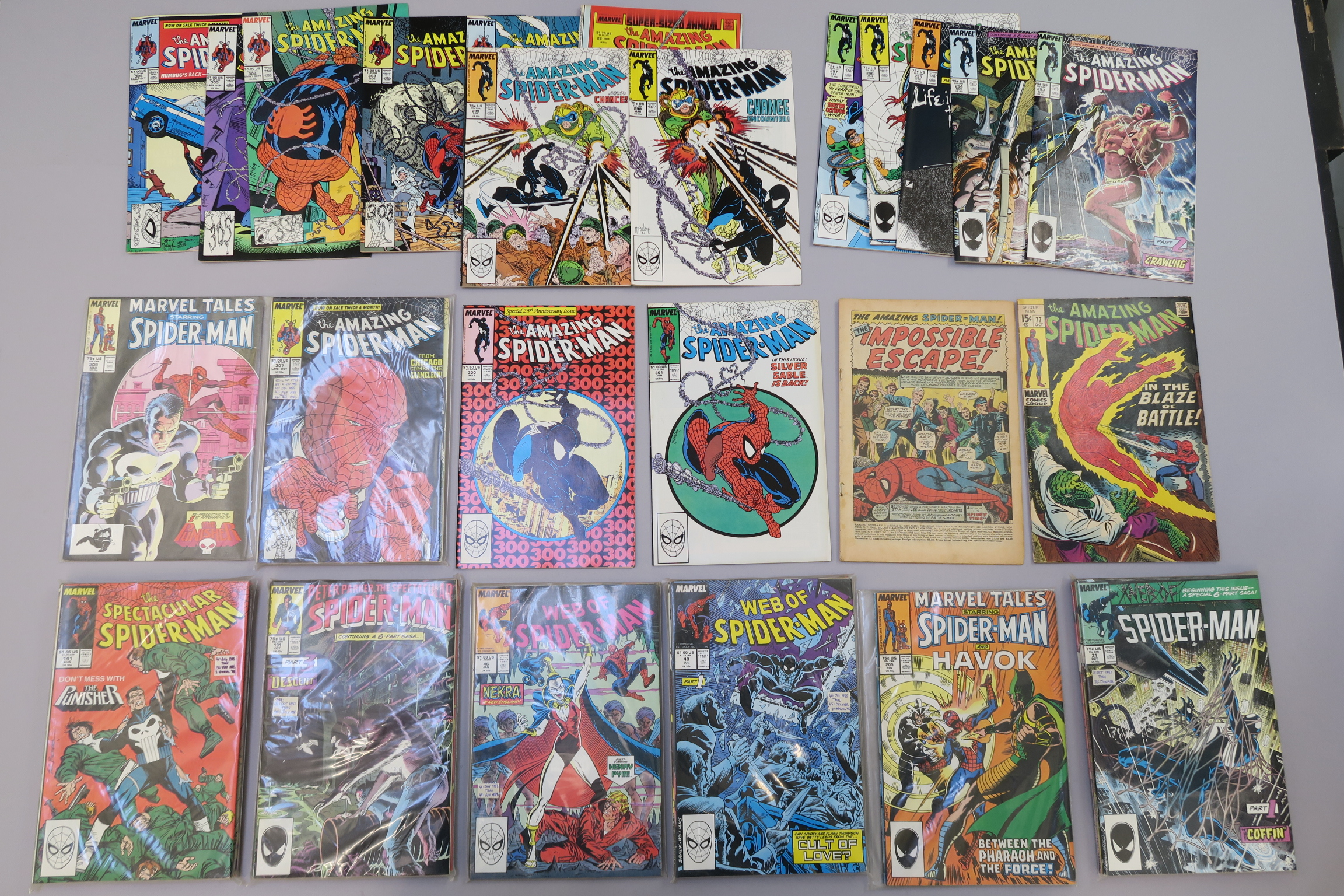 Lot 247 - Collection of Marvel comics to include The Amazing Spider-man #65 (1968) with cover missing plus