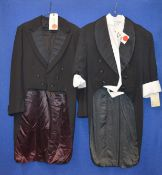 Evening wear including a Western Costume Co black evening jacket with tails printed label Gregory