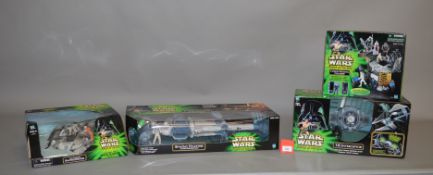 Four Hasbro Star Wars Power of the Jedi vehicles and playsets: B-wing Fighter; TIE Interceptor;