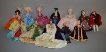Twelve Collectors Costume Dolls by Peggy Nisbet, which includes; Henry VIII, Anne Of Cleves,