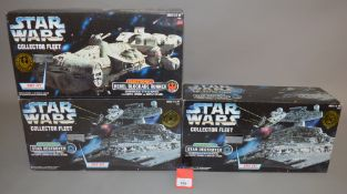 Three Hasbro Star Wars Collector Fleet electronic vehicles: two Star Destroyer;