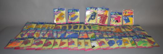 EX-SHOP STOCK: Seventy five Hasbro Sindy doll Hot Collection Outfit clothing accessory sets (75).