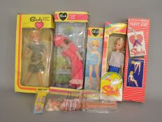 EX-SHOP STOCK: Five Pedigree Sindy Fashion Dolls together with a Marx Toys example,