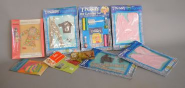 EX-SHOP STOCK: Six Palitoy Tressy Outfit doll clothing accessory sets together with a Tressy hair