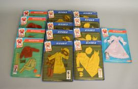 EX-SHOP STOCK: Thirteen Pedigree Sindy doll Outfit clothing accessory sets including Designer and