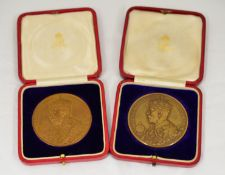 ROYAL MINT - Two 1911 George V coronation bronze medallions 51mm (by B.