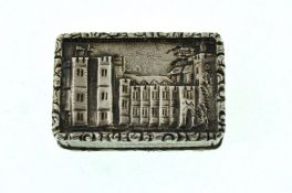 An early Victorian silver castle top vinaigrette by Joseph Wilmore showing Kenilworth castle,