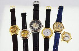 Six modern skeleton mechanical wristwatches,