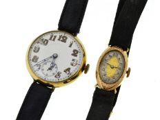 Two 9ct early 20th century mechanical wristwatches, a gents with London import marks 1916,