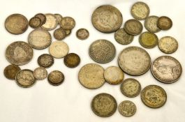 A mixed quantity of pre 47 silver coins, approx gross weight 180gms,