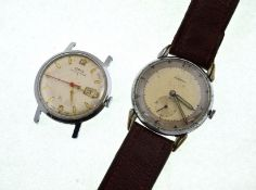 Two circa 1950's mechanical wristwatches, Oris bubbleback, & Hermes,