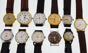 Eleven working mechanical wristwatches to include a 1950's Elco calendar with working appetures