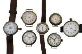 Seven silver early 20th century mechanical watches,
